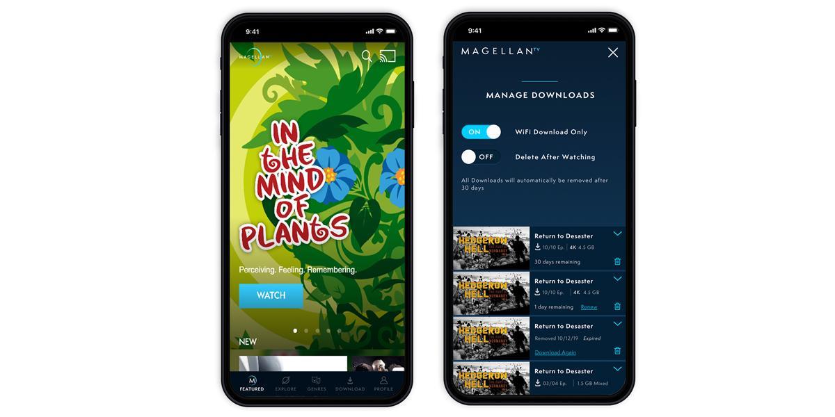 Mockups of MagellanTV's download feature.