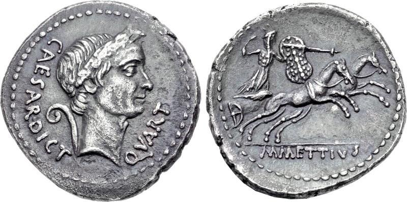 Roman coin with image of Caesar and his new title of dictator for life. (Image Credit: CNG)
