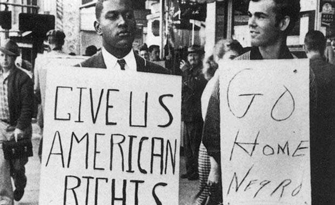 Civil Rights protestor and counter-protestor