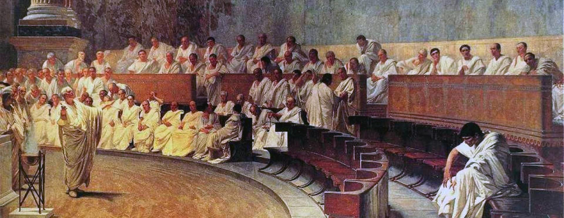 Cicero denounces Cataline in the Roman Senate (Image Credit: Cesare Maccari)
