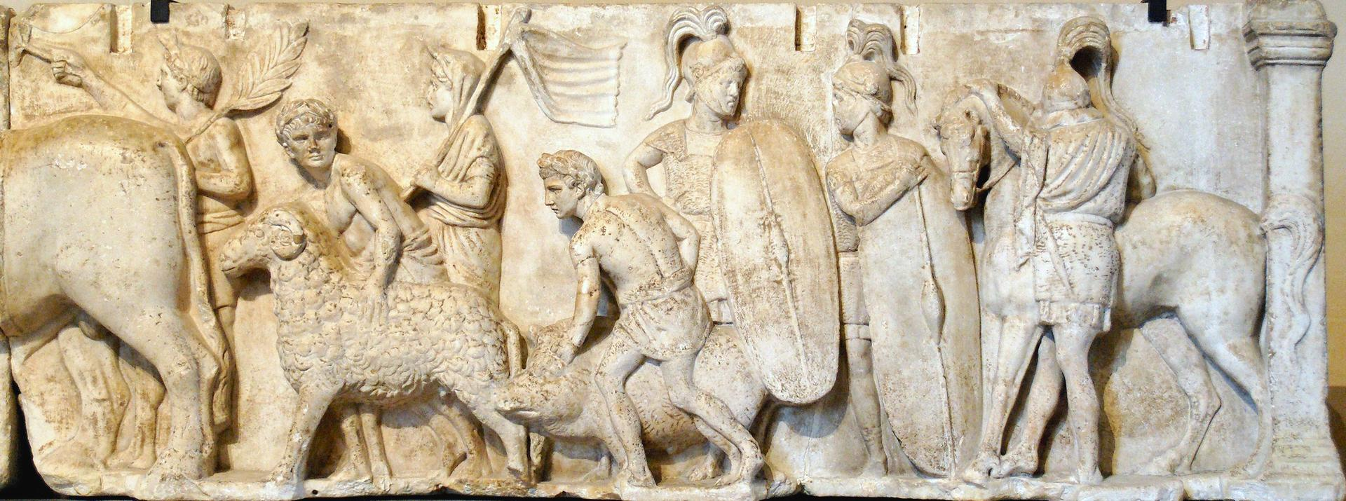 Two Roman soldiers shown in the  Ahenobarbus relief (Image Credit: Public Domain)