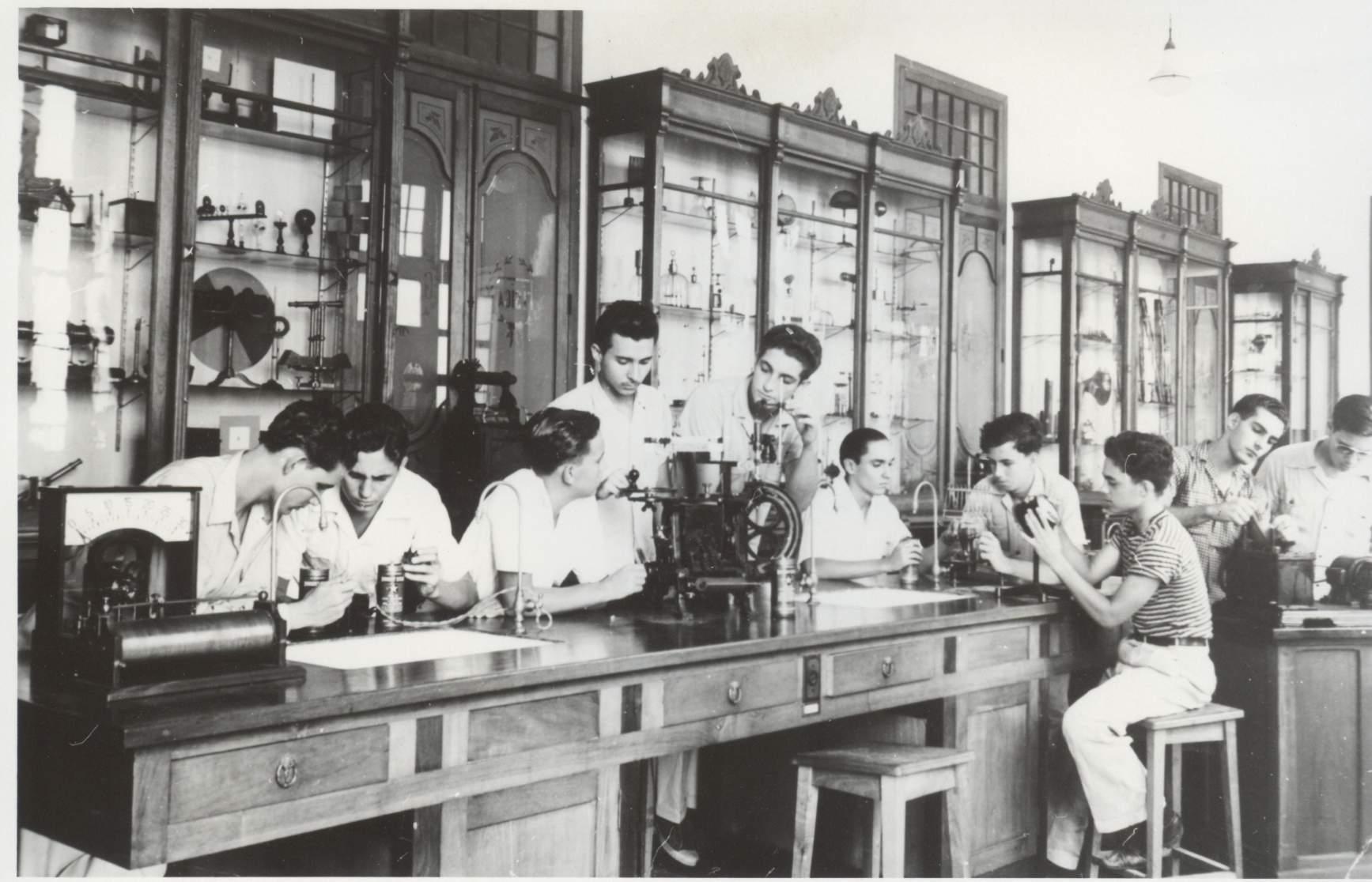 Castro during class in prepratory school.